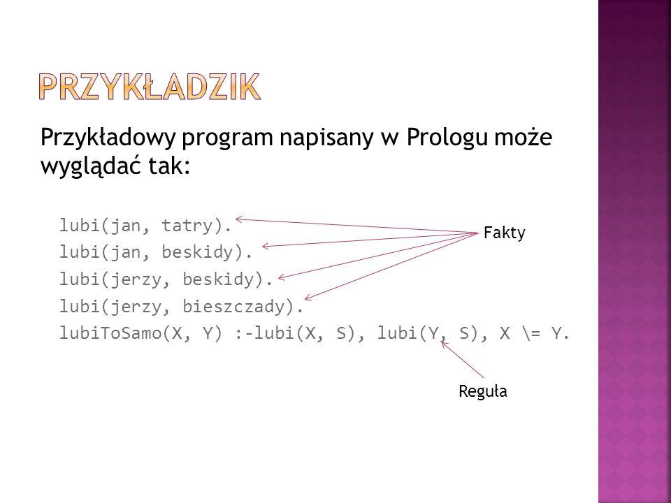 Przykładzik Przykładowy program napisany w Prologu może wyglądać tak: