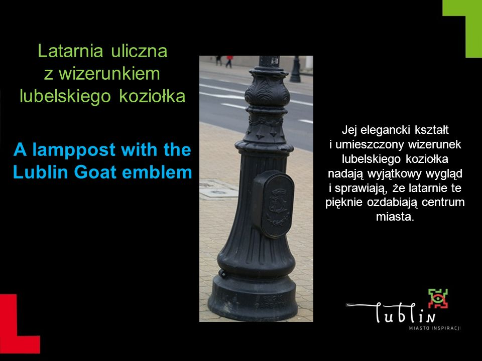 A lamppost with the Lublin Goat emblem