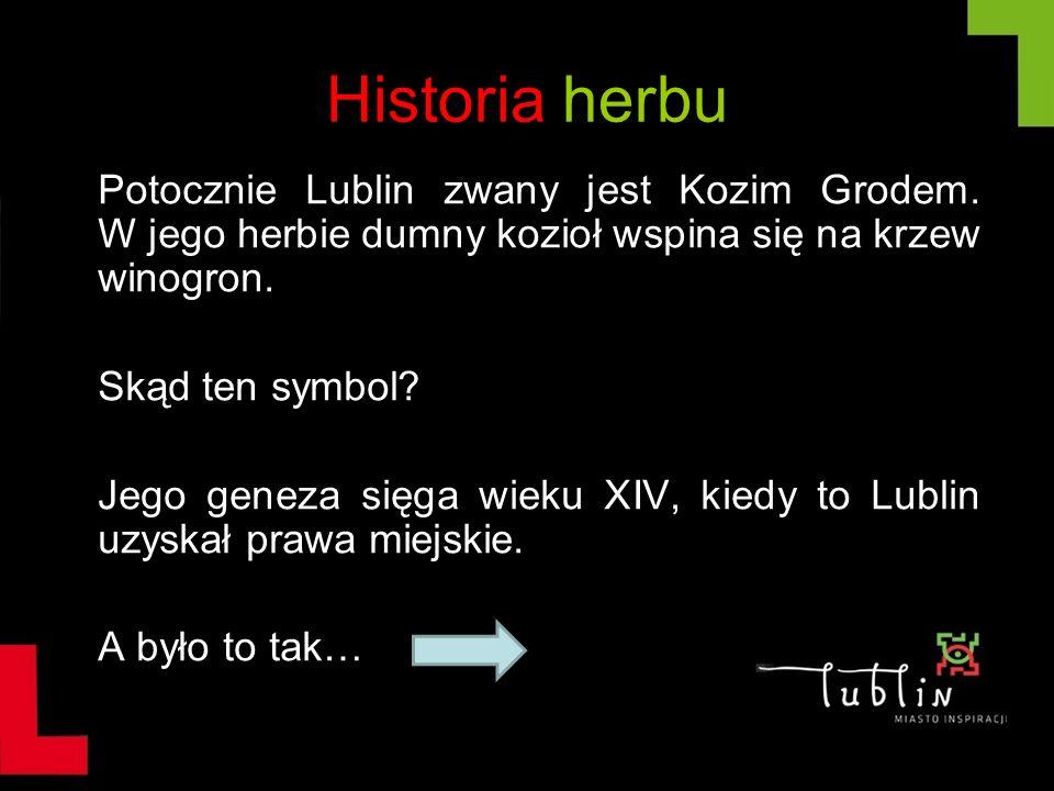 Historia herbu Potocznie Lublin zwany jest Kozim Grodem. W jego herbie dumny kozioł wspina się na krzew winogron.
