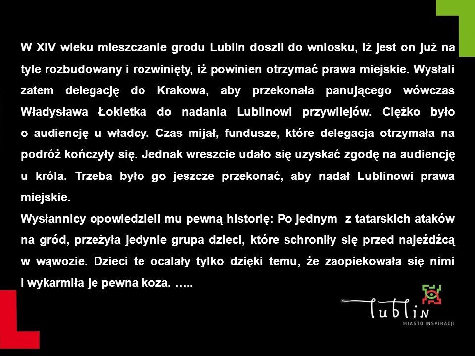 W XIV wieku mieszczanie grodu Lublin doszli do wniosku, iż jest on już na tyle rozbudowany i rozwinięty, iż powinien otrzymać prawa miejskie. Wysłali zatem delegację do Krakowa, aby przekonała panującego wówczas Władysława Łokietka do nadania Lublinowi przywilejów. Ciężko było o audiencję u władcy. Czas mijał, fundusze, które delegacja otrzymała na podróż kończyły się. Jednak wreszcie udało się uzyskać zgodę na audiencję u króla. Trzeba było go jeszcze przekonać, aby nadał Lublinowi prawa miejskie.