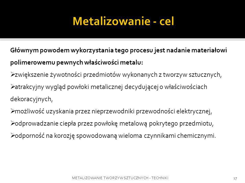 Metalizowanie - celGłównym powodem wykorzystania tego procesu jest nadanie materiałowi polimerowemu pewnych właściwości metalu:
