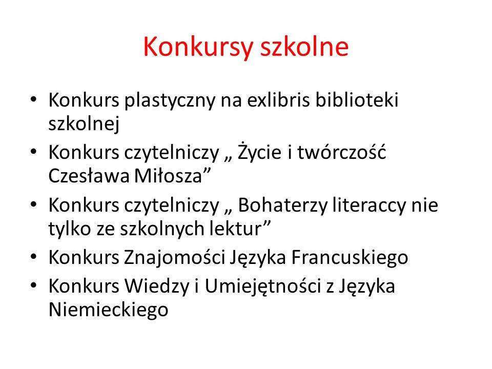 Konkursy szkolne Konkurs plastyczny na exlibris biblioteki szkolnej