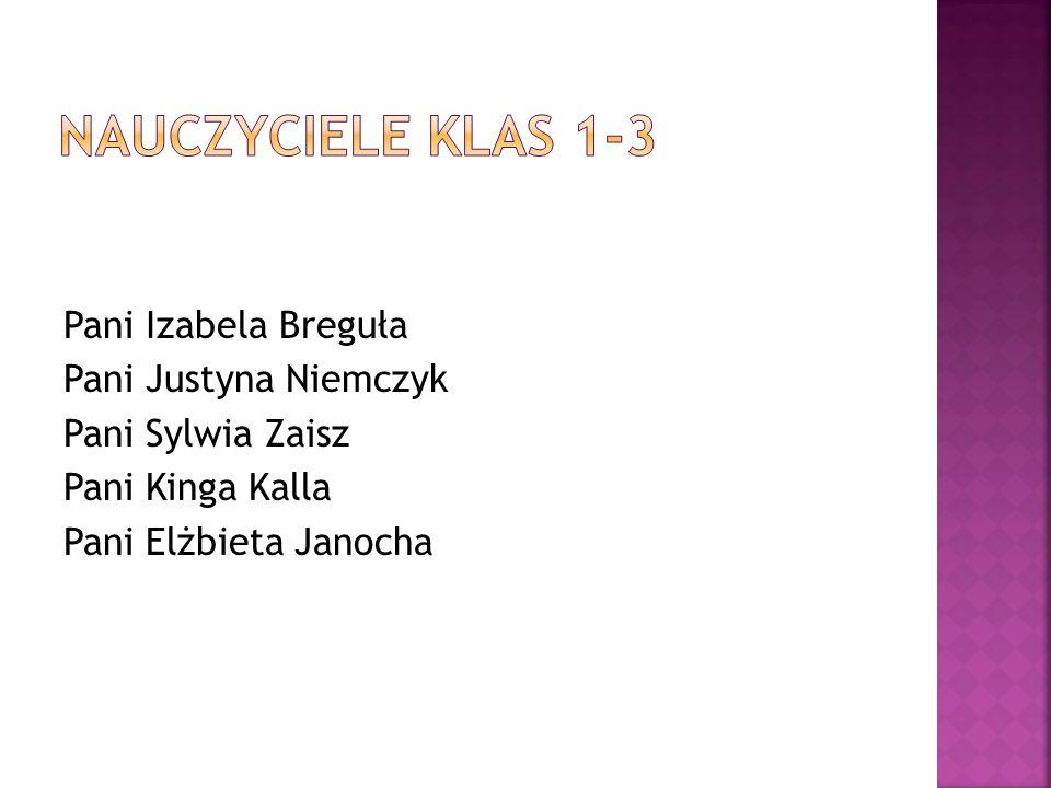 Nauczyciele klas 1-3 Pani Izabela Breguła Pani Justyna Niemczyk Pani Sylwia Zaisz Pani Kinga Kalla Pani Elżbieta Janocha