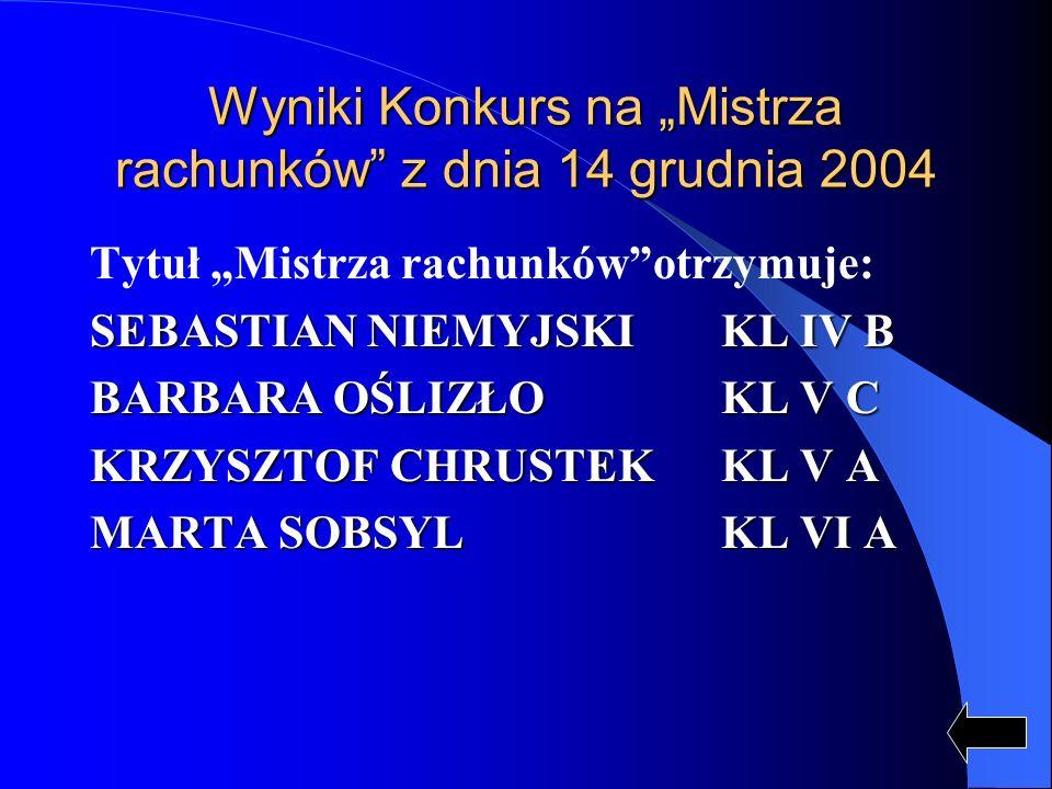 """Wyniki Konkurs na """"Mistrza rachunków z dnia 14 grudnia 2004"""