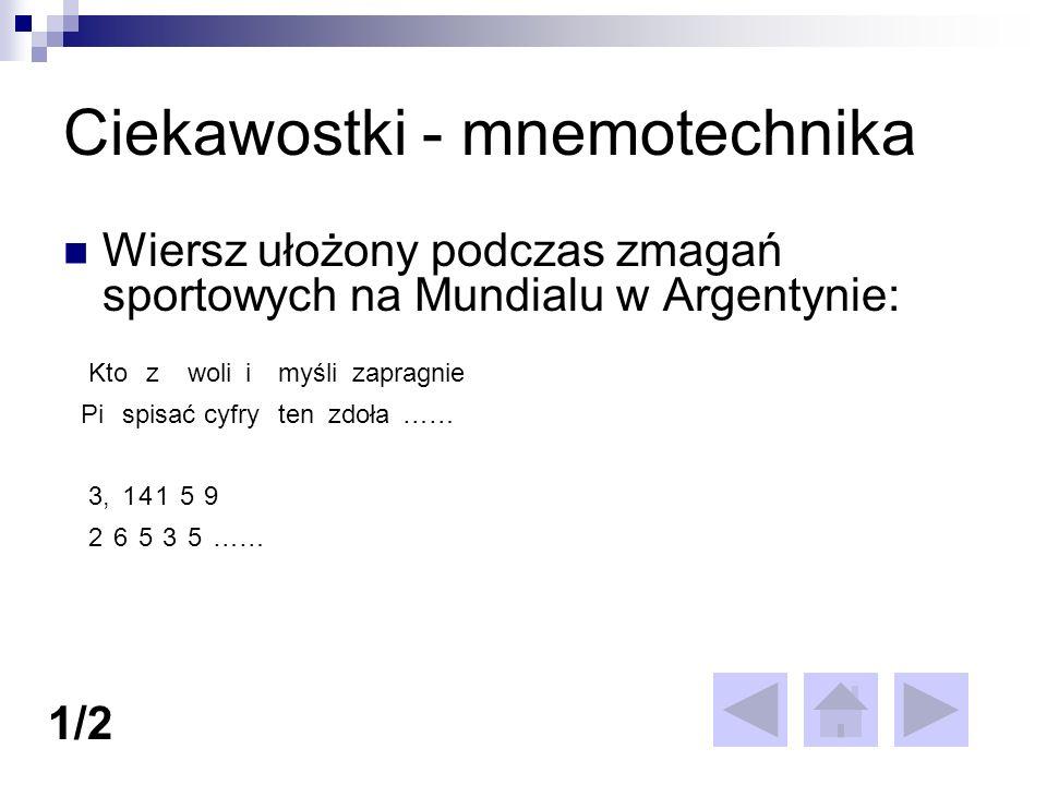 Ciekawostki - mnemotechnika