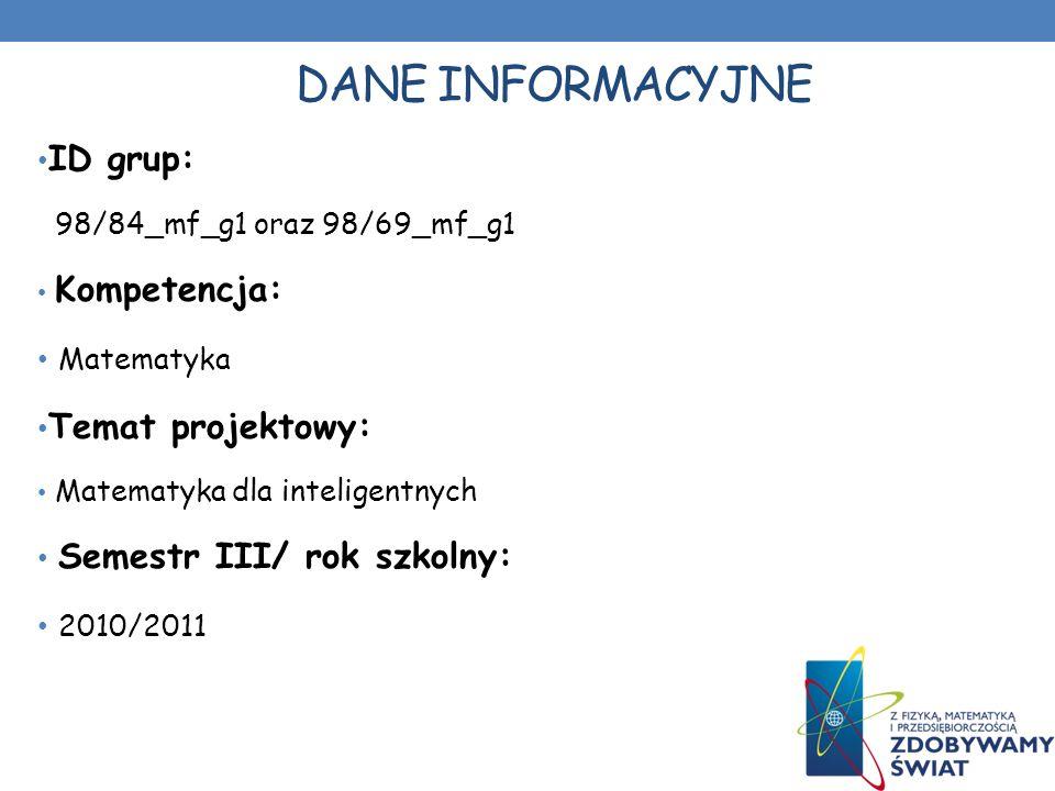 DANE INFORMACYJNE ID grup: Matematyka Temat projektowy: