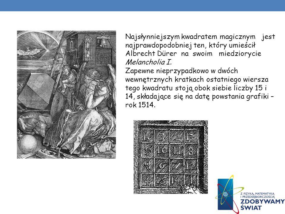 Najsłynniejszym kwadratem magicznym jest najprawdopodobniej ten, który umieścił Albrecht Dürer na swoim miedziorycie Melancholia I.