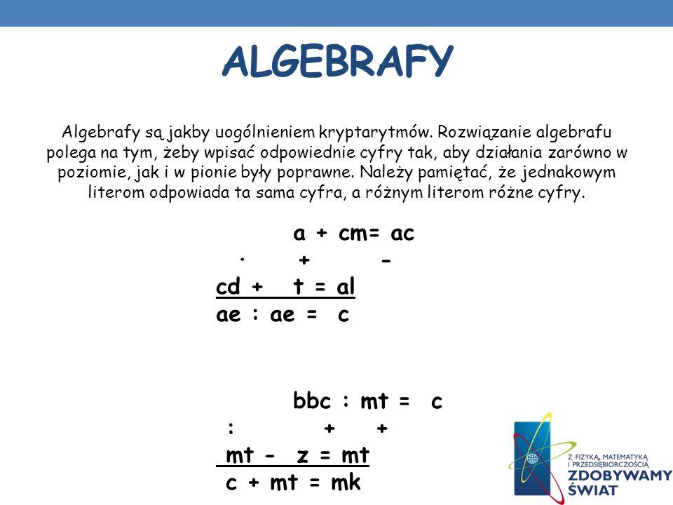 Algebrafy a + cm= ac · + - cd + t = al ae : ae = c