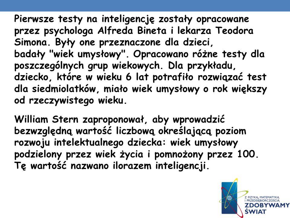 Pierwsze testy na inteligencję zostały opracowane przez psychologa Alfreda Bineta i lekarza Teodora Simona.