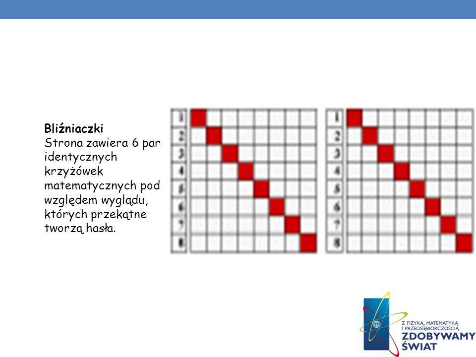 Bliźniaczki Strona zawiera 6 par identycznych krzyżówek matematycznych pod względem wyglądu, których przekątne tworzą hasła.