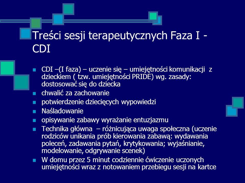 Treści sesji terapeutycznych Faza I - CDI