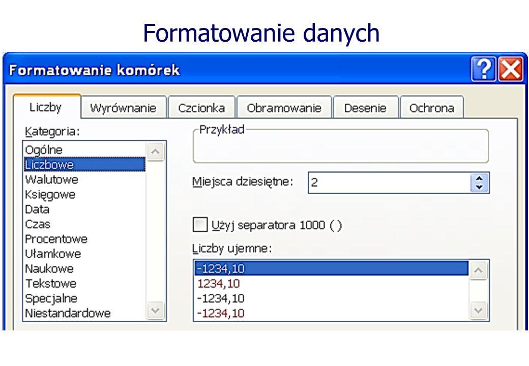 Formatowanie danych W większości przypadków po wprowadzeniu danych należy im nadać określony wygląd tzw.
