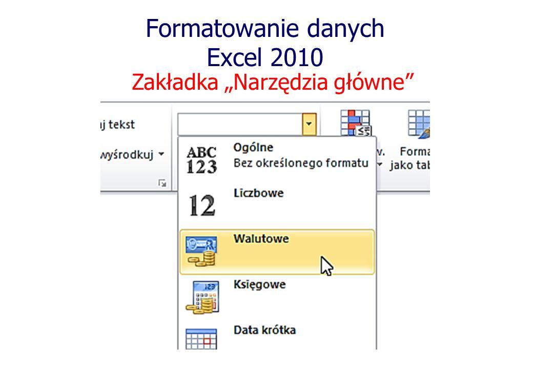 Formatowanie danych Excel 2010