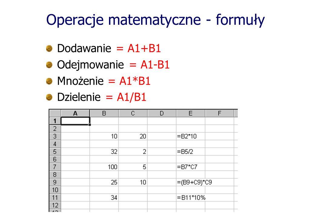 Operacje matematyczne - formuły