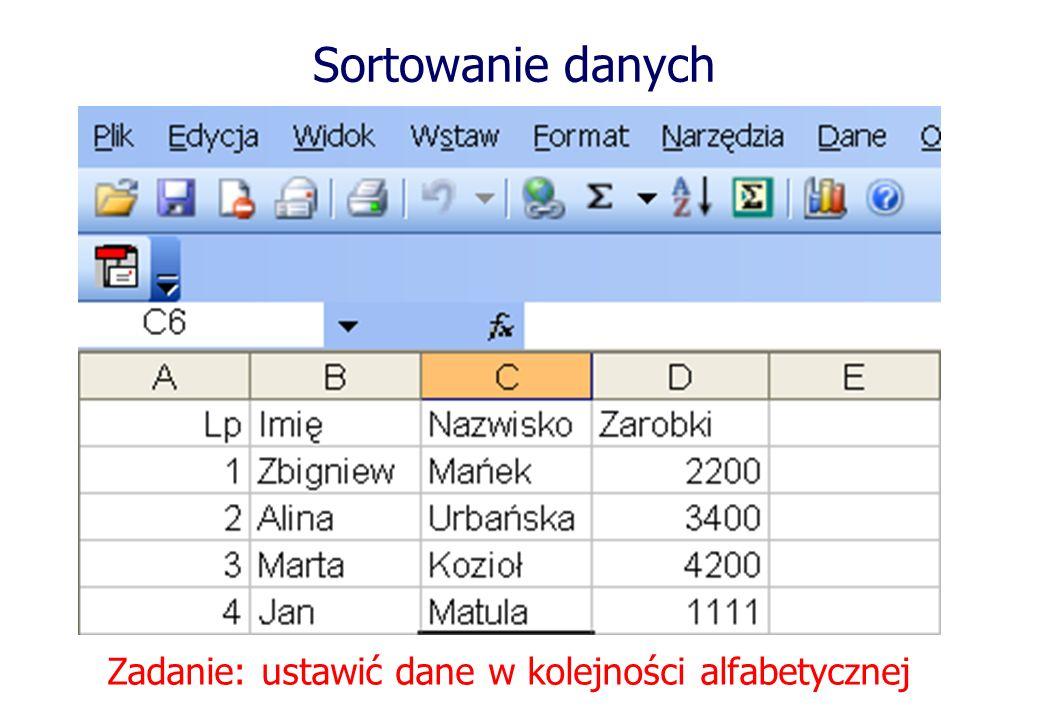 Sortowanie danych Zadanie: ustawić dane w kolejności alfabetycznej