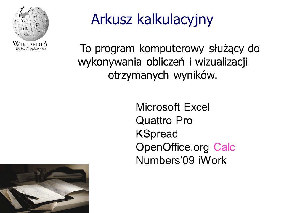 Arkusz kalkulacyjny To program komputerowy służący do wykonywania obliczeń i wizualizacji otrzymanych wyników.