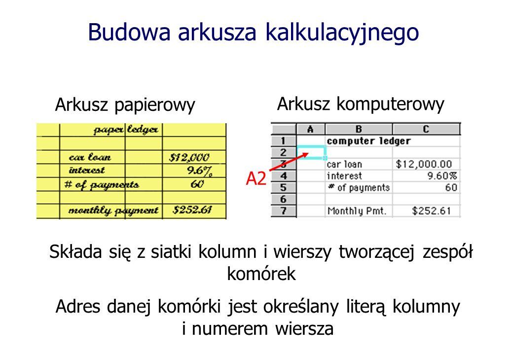 Budowa arkusza kalkulacyjnego