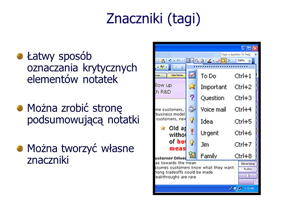 Znaczniki (tagi) Łatwy sposób oznaczania krytycznych elementów notatek
