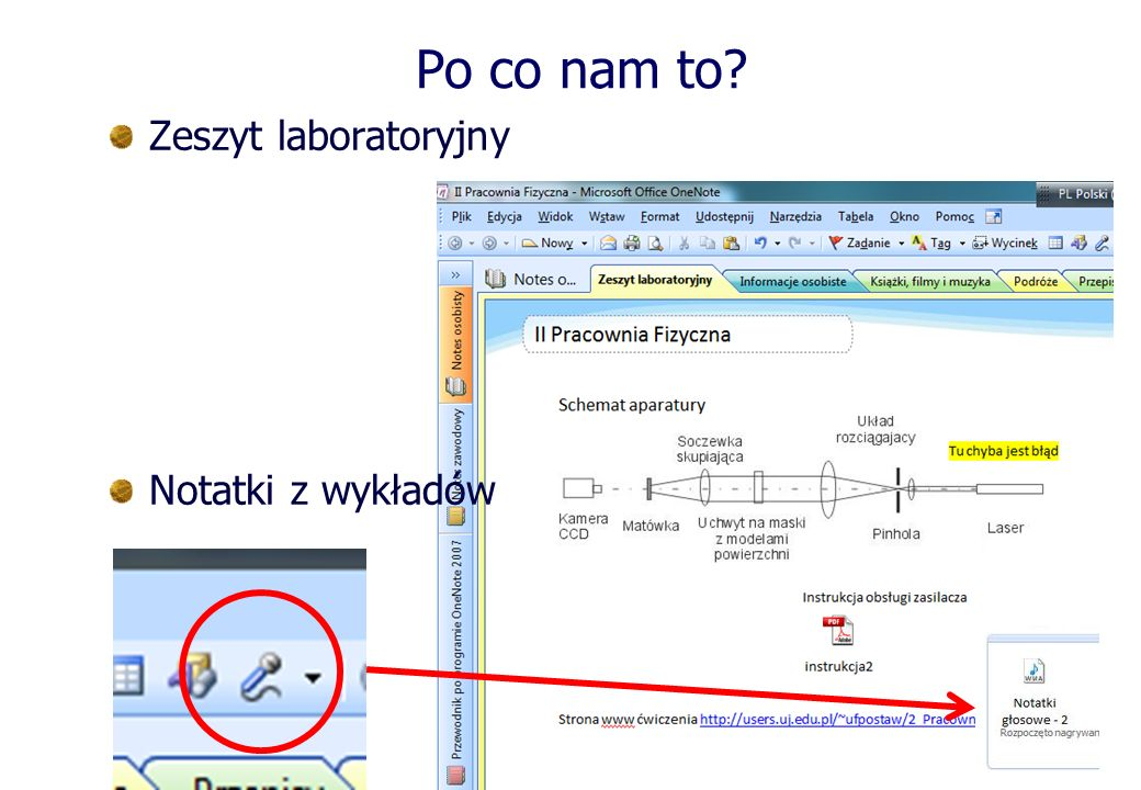 Po co nam to Zeszyt laboratoryjny Notatki z wykładów