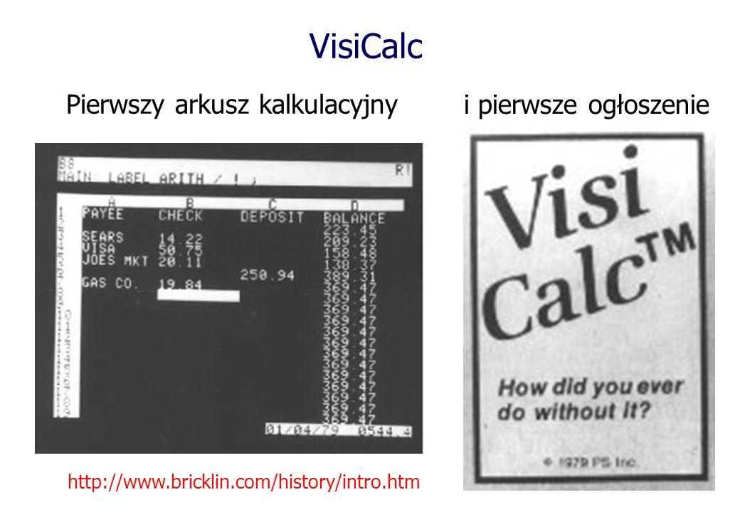 VisiCalc Pierwszy arkusz kalkulacyjny i pierwsze ogłoszenie