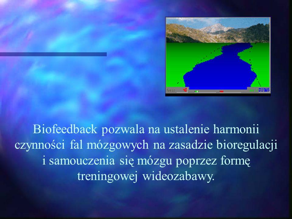 Biofeedback pozwala na ustalenie harmonii czynności fal mózgowych na zasadzie bioregulacji i samouczenia się mózgu poprzez formę treningowej wideozabawy.