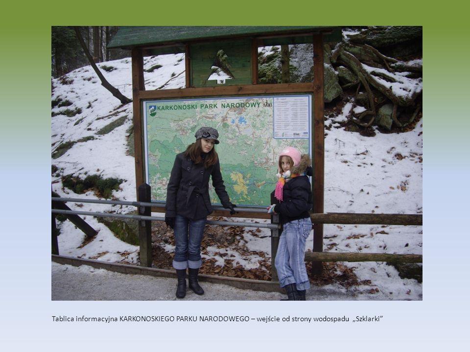 """Tablica informacyjna KARKONOSKIEGO PARKU NARODOWEGO – wejście od strony wodospadu """"Szklarki"""