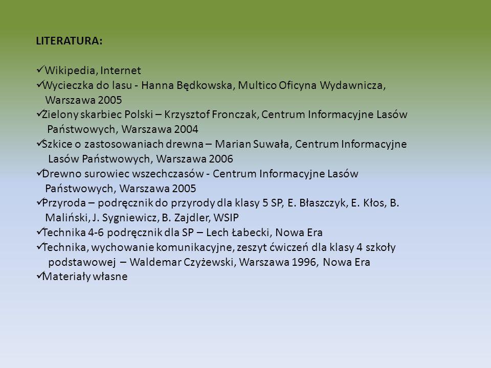 LITERATURA:Wikipedia, Internet. Wycieczka do lasu - Hanna Będkowska, Multico Oficyna Wydawnicza, Warszawa 2005.