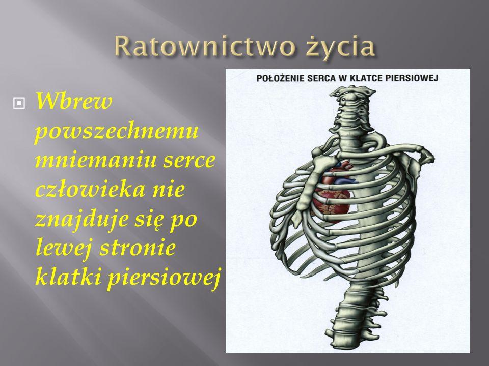 Ratownictwo życia Wbrew powszechnemu mniemaniu serce człowieka nie znajduje się po lewej stronie klatki piersiowej.