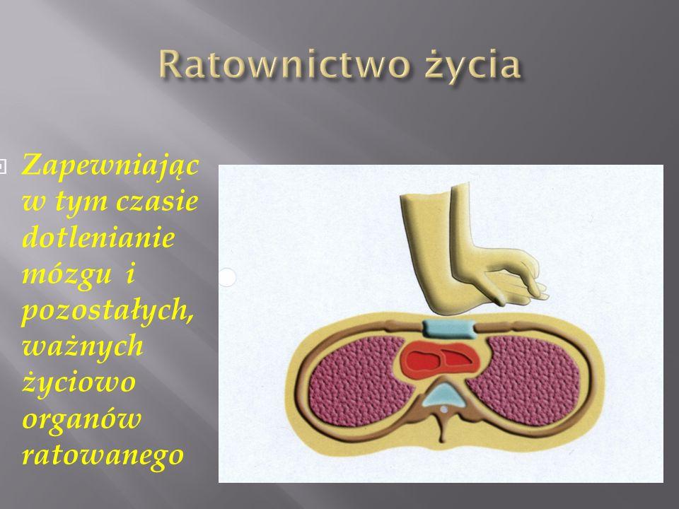 Ratownictwo życia Zapewniając w tym czasie dotlenianie mózgu i pozostałych, ważnych życiowo organów ratowanego.