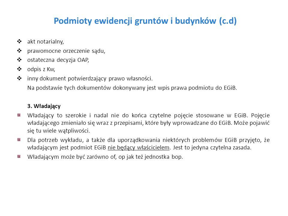 Podmioty ewidencji gruntów i budynków (c.d)