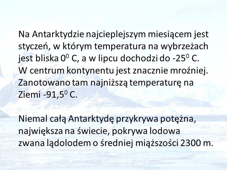 Na Antarktydzie najcieplejszym miesiącem jest styczeń, w którym temperatura na wybrzeżach jest bliska 00 C, a w lipcu dochodzi do -250 C. W centrum kontynentu jest znacznie mroźniej. Zanotowano tam najniższą temperaturę na Ziemi -91,50 C.