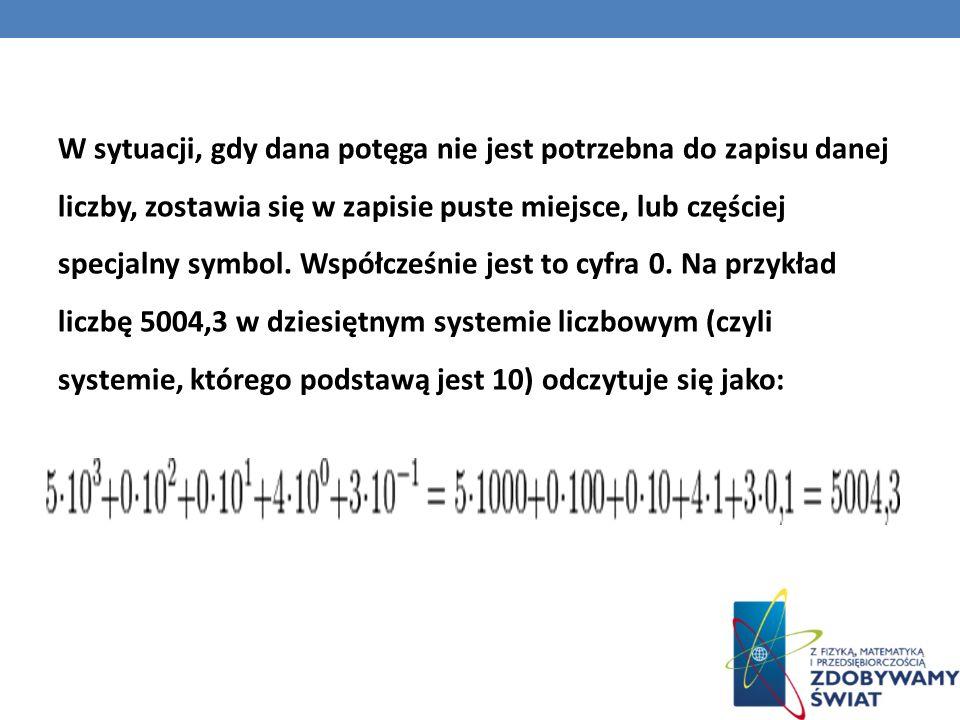 W sytuacji, gdy dana potęga nie jest potrzebna do zapisu danej liczby, zostawia się w zapisie puste miejsce, lub częściej specjalny symbol.