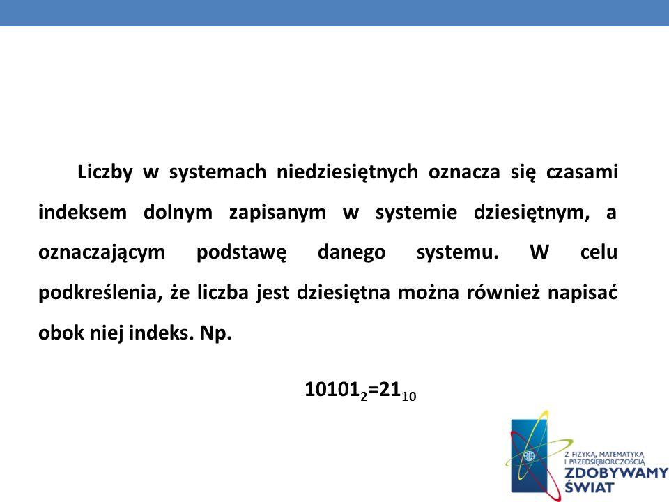 Liczby w systemach niedziesiętnych oznacza się czasami indeksem dolnym zapisanym w systemie dziesiętnym, a oznaczającym podstawę danego systemu.