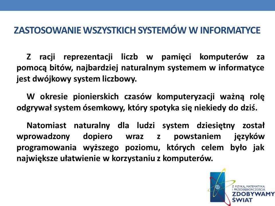 Zastosowanie wszystkich systemów w informatyce