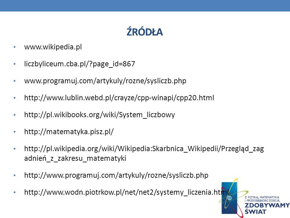 źródła www.wikipedia.pl liczbyliceum.cba.pl/ page_id=867