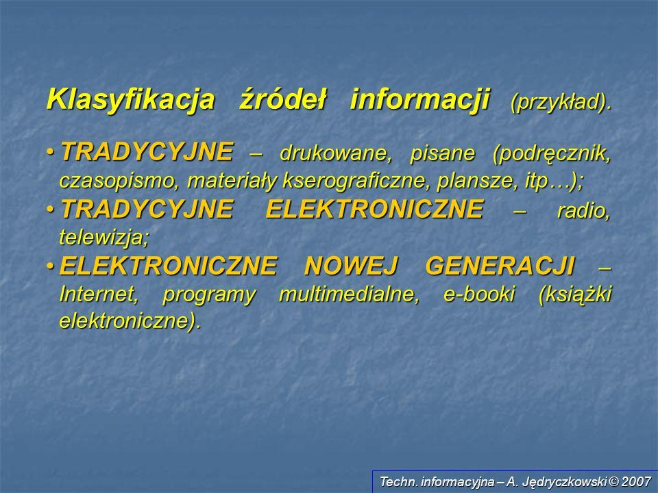 Klasyfikacja źródeł informacji (przykład).