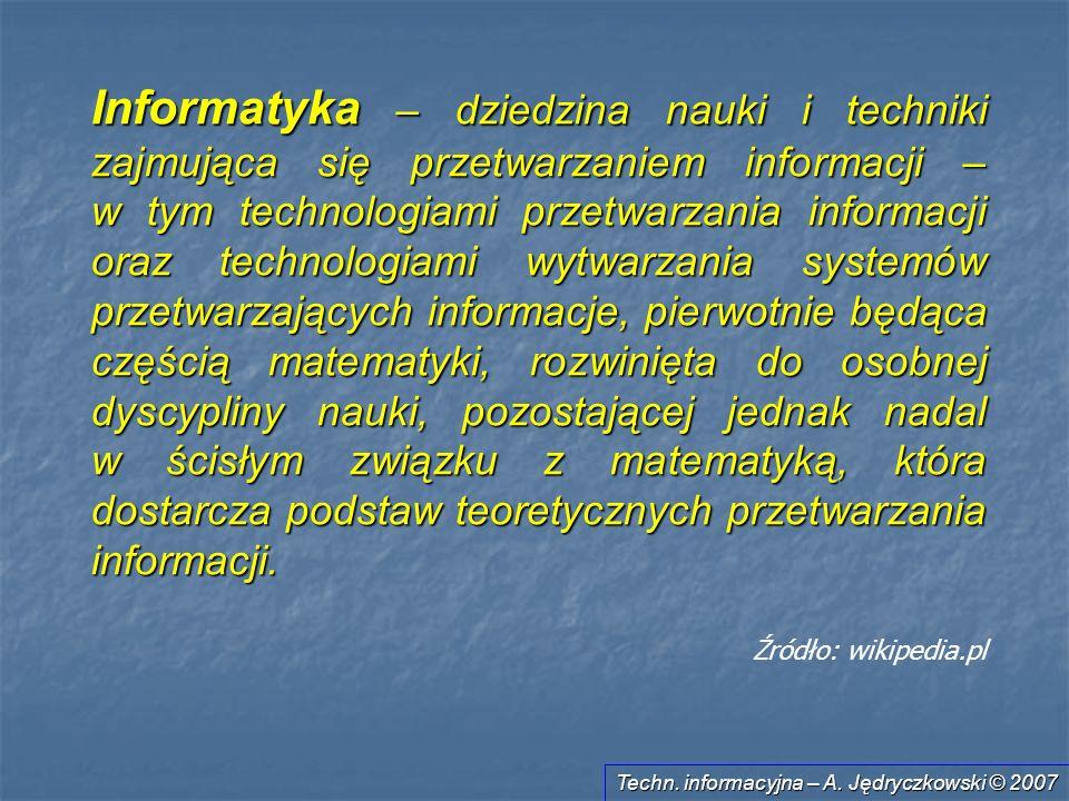 Informatyka – dziedzina nauki i techniki zajmująca się przetwarzaniem informacji – w tym technologiami przetwarzania informacji oraz technologiami wytwarzania systemów przetwarzających informacje, pierwotnie będąca częścią matematyki, rozwinięta do osobnej dyscypliny nauki, pozostającej jednak nadal w ścisłym związku z matematyką, która dostarcza podstaw teoretycznych przetwarzania informacji.
