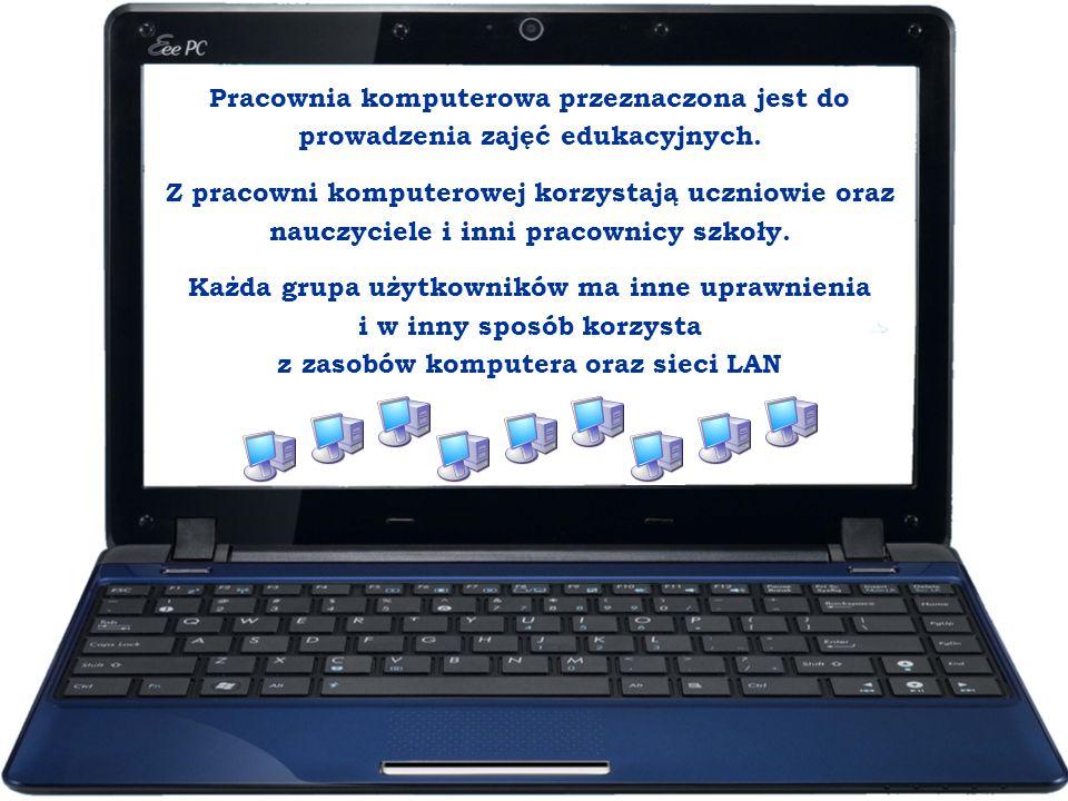 Pracownia komputerowa przeznaczona jest do prowadzenia zajęć edukacyjnych.