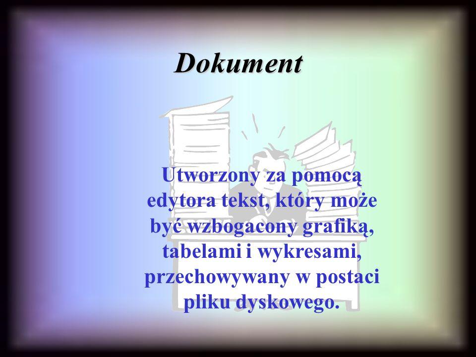 Dokument Utworzony za pomocą edytora tekst, który może być wzbogacony grafiką, tabelami i wykresami, przechowywany w postaci pliku dyskowego.