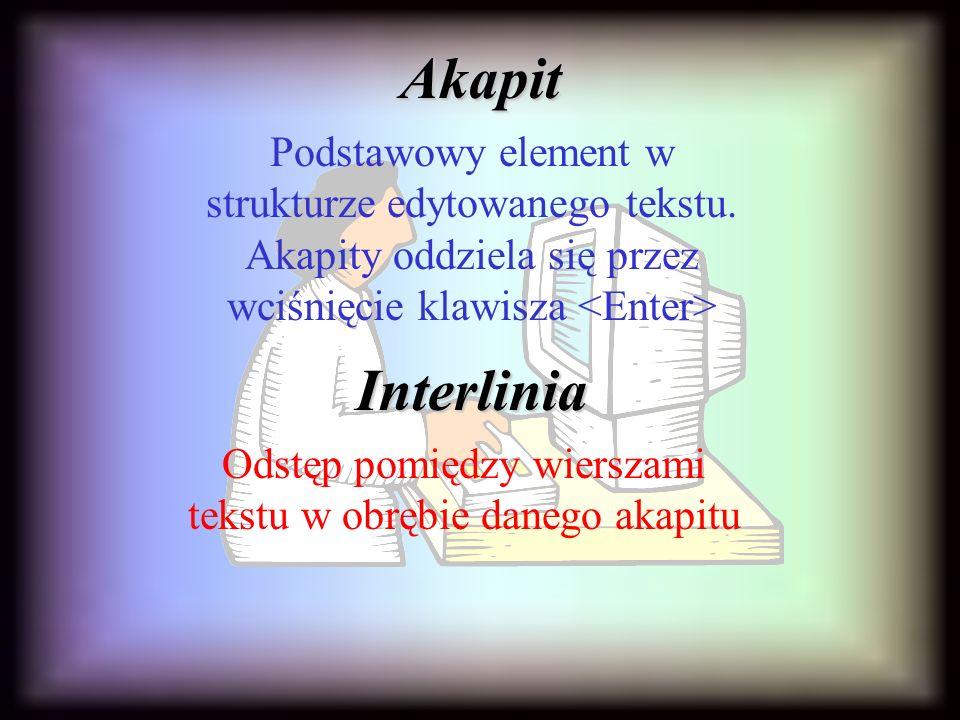 Odstęp pomiędzy wierszami tekstu w obrębie danego akapitu