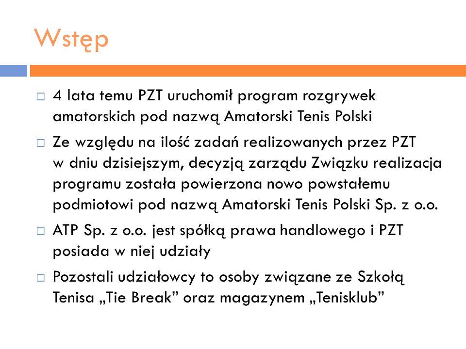 Wstęp4 lata temu PZT uruchomił program rozgrywek amatorskich pod nazwą Amatorski Tenis Polski.