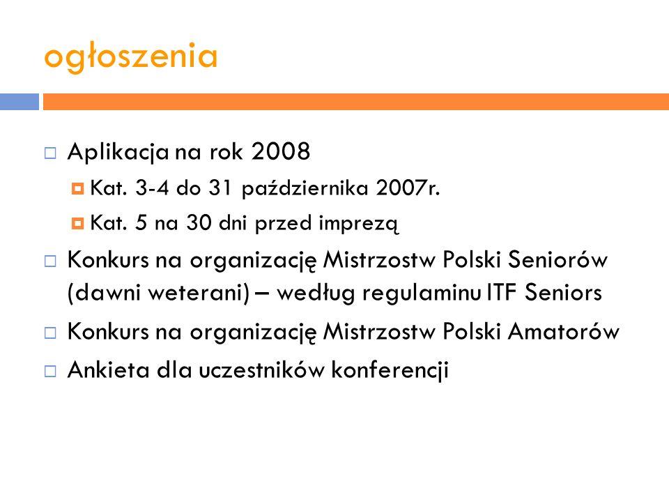 ogłoszenia Aplikacja na rok 2008