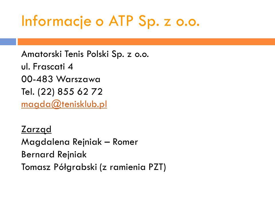 Informacje o ATP Sp. z o.o. Amatorski Tenis Polski Sp. z o.o.