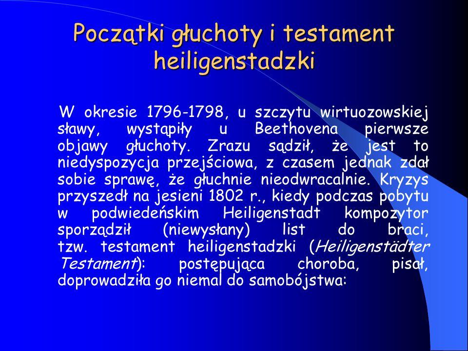 Początki głuchoty i testament heiligenstadzki