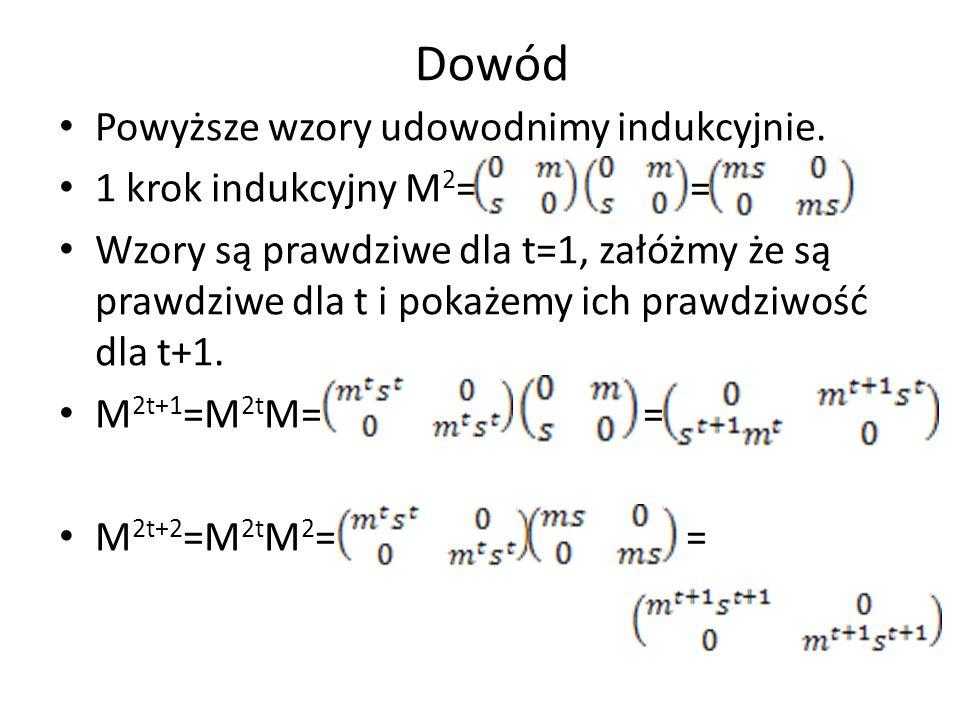 Dowód Powyższe wzory udowodnimy indukcyjnie. 1 krok indukcyjny M2= =