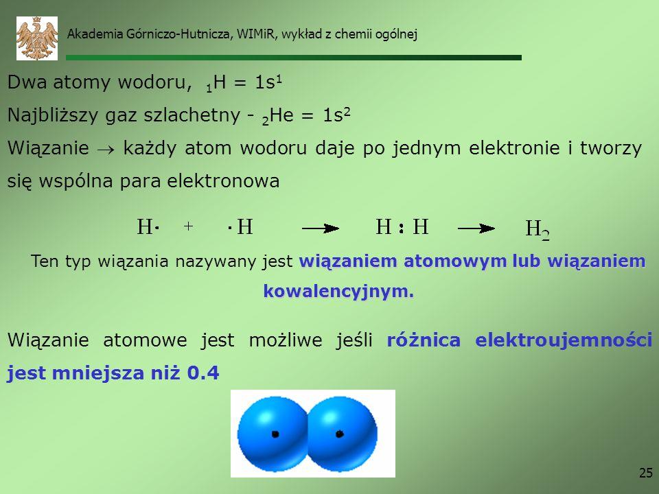 Najbliższy gaz szlachetny - 2He = 1s2