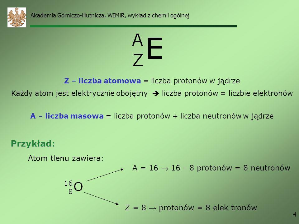 Przykład: Atom tlenu zawiera: A = 16  16 - 8 protonów = 8 neutronów