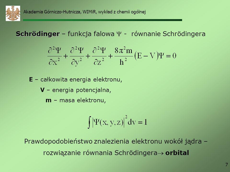 Schrödinger – funkcja falowa  - równanie Schrödingera