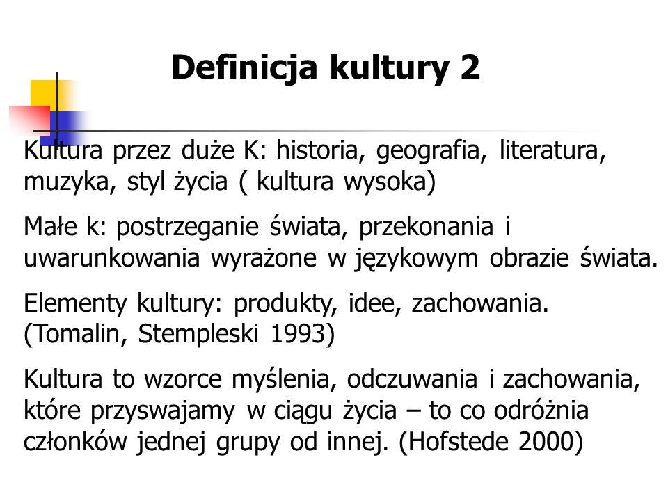 Definicja kultury 2 Kultura przez duże K: historia, geografia, literatura, muzyka, styl życia ( kultura wysoka)