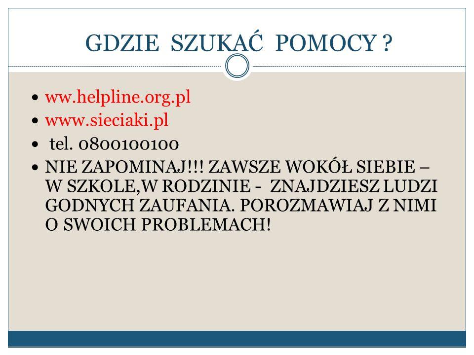 GDZIE SZUKAĆ POMOCY ww.helpline.org.pl www.sieciaki.pl